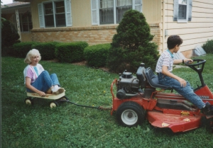 My grandma taking a wagon ride with my brother- a picture that always brings me joy.